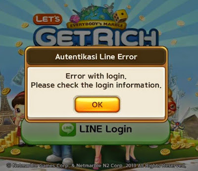 Login Game Line Get Rich (Autentikasi Line Error)