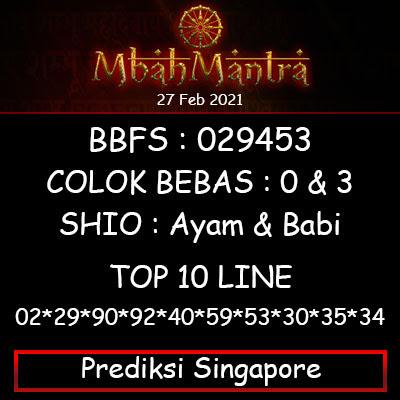Prediksi Angka Singapore 27 Februari 2021