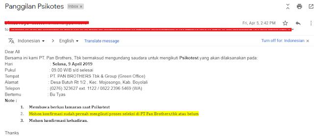 email panggilan psikotest