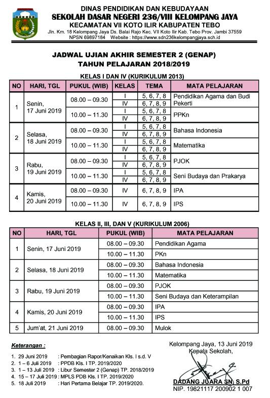 Jadwal Ujian Akhir Semester 2 (Genap) Tahun Pelajaran 2018/2019