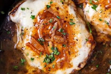 ONE PAN FRENCH ONION SMOTHERED PORK CHOPS