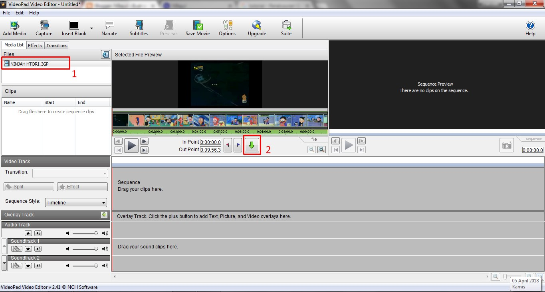 Cara Memotong Video Dengan VideoPad