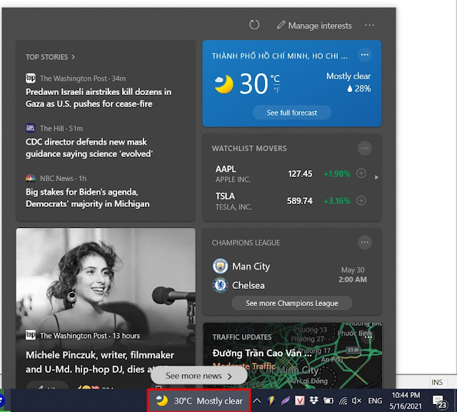 Cách tắt ứng dụng dự báo thời tiết trên taskbar Windows 10