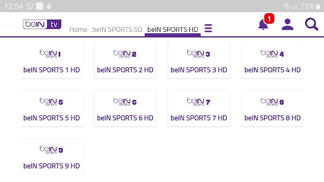 تحميل تطبيق beIN TV لمشاهدة قنوات بي ان سبورت بكل الجودات