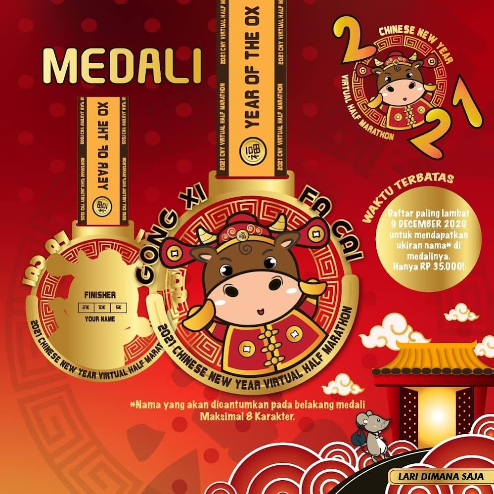 Medali - Chinese New Year Virtual Half Marathon • 2021