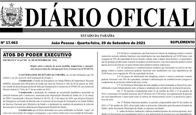 Novo decreto do Governo da Paraíba libera shows, eventos e jogos com 20% da capacidade de público