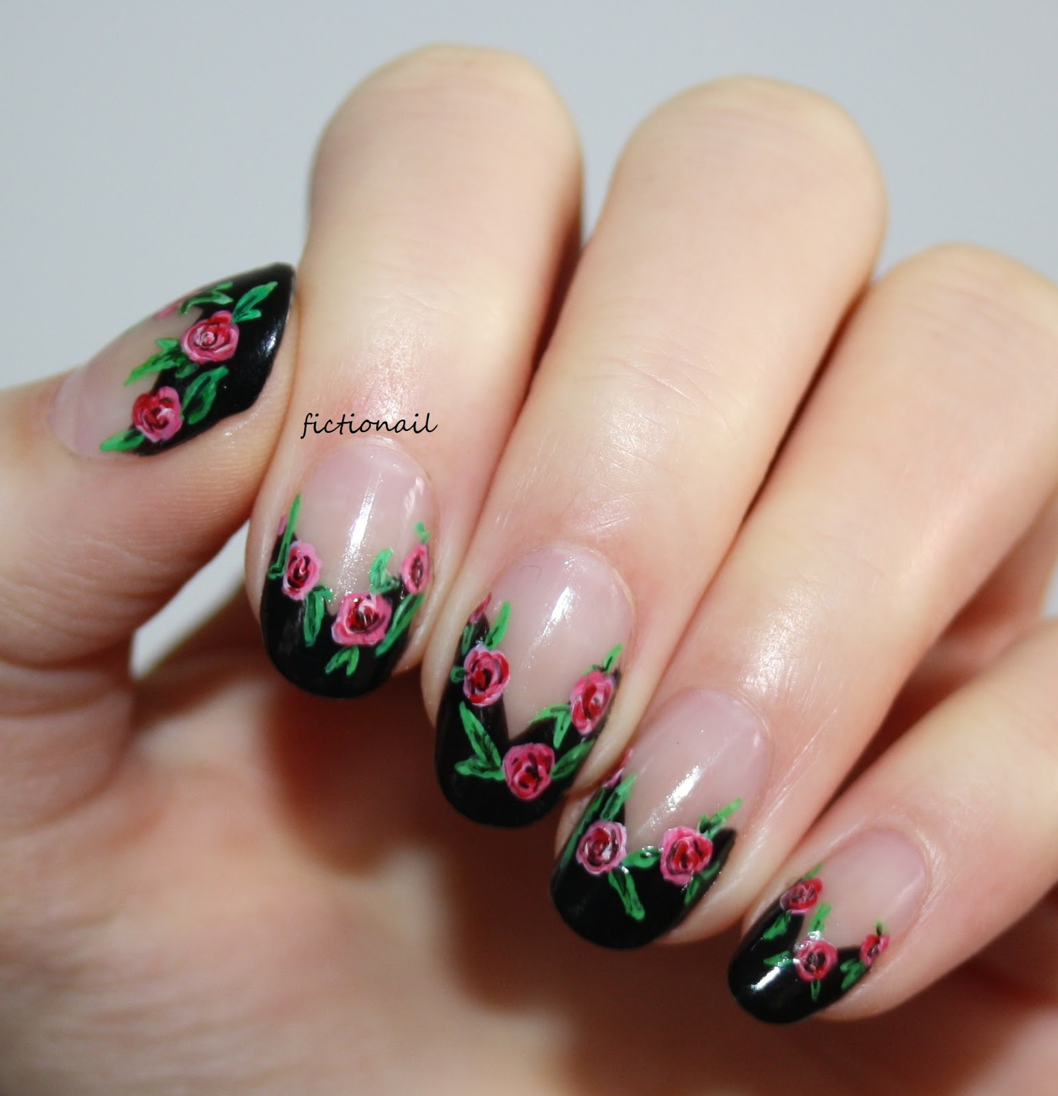 Negative Space Rose Nails