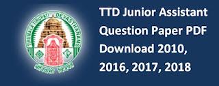 TTD Junior Assistant Question Paper PDF Download 2010, 2016, 2017, 2018