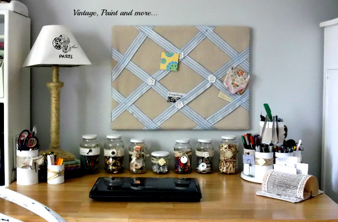 Vintage, Paint and more... diy'd desktop organization from budget friendly recycles everyday items