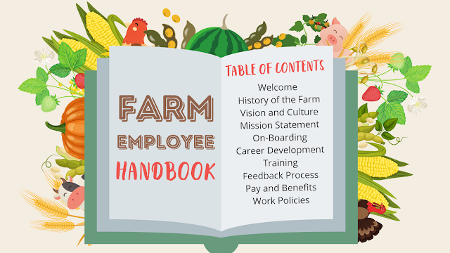 Picture of light green Farm Employee Handbook surrounding by commodities and livestock with a table of contents list.