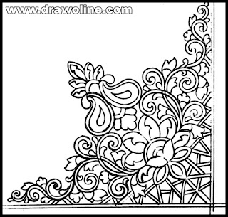 corner flower design outline,Corner flower outline free vector download