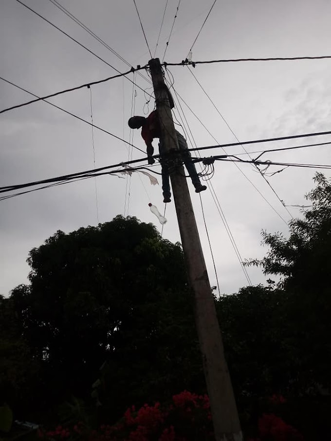 Hombre muere electrocutado encima de un poste de luz en Camboya de Barahona