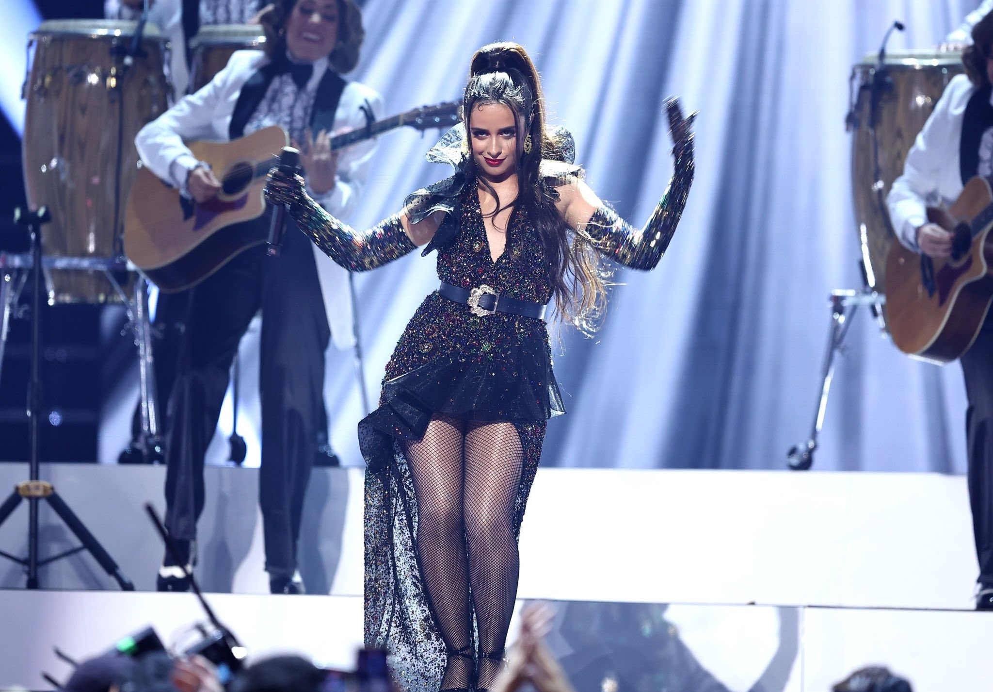 The Cinderella actress changed into a black beaded Zuhair Murad FW/21 couture collection dress for her performance