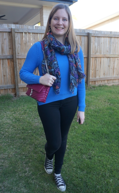 blue mossman knit with black nobody denim skinny jeans converse Rebecca Minkoff edie magenta bag purple scarf | awayfromblue