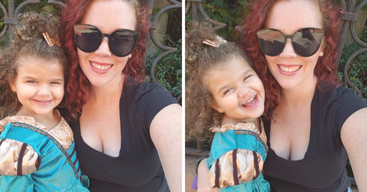 Side by side photos of a little girl in a teal dress next to her red haired aunt.