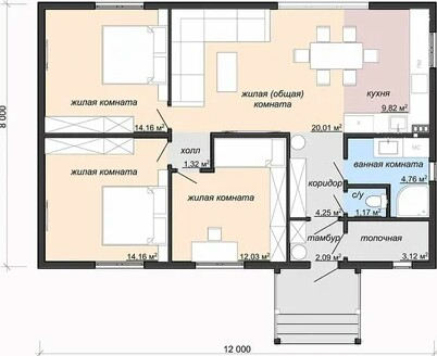 Compact project of a one-story house with sides 8x12