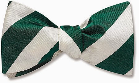 Green and White bow tie from Beau Ties Ltd.