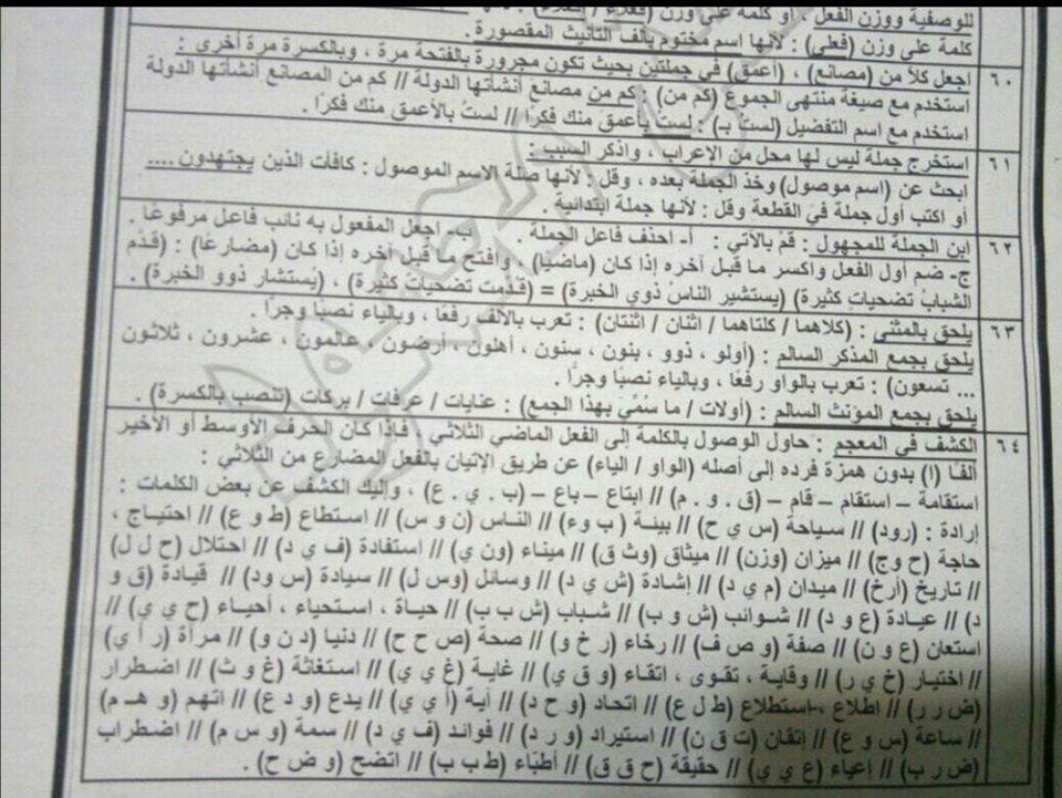 أقوى مراجعات اللغة العربية للصف الثالث الثانوي 64
