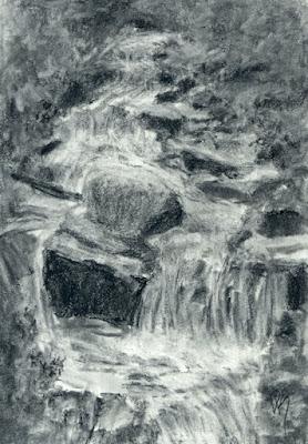 Charcoal sketch waterfall creek stream mountain