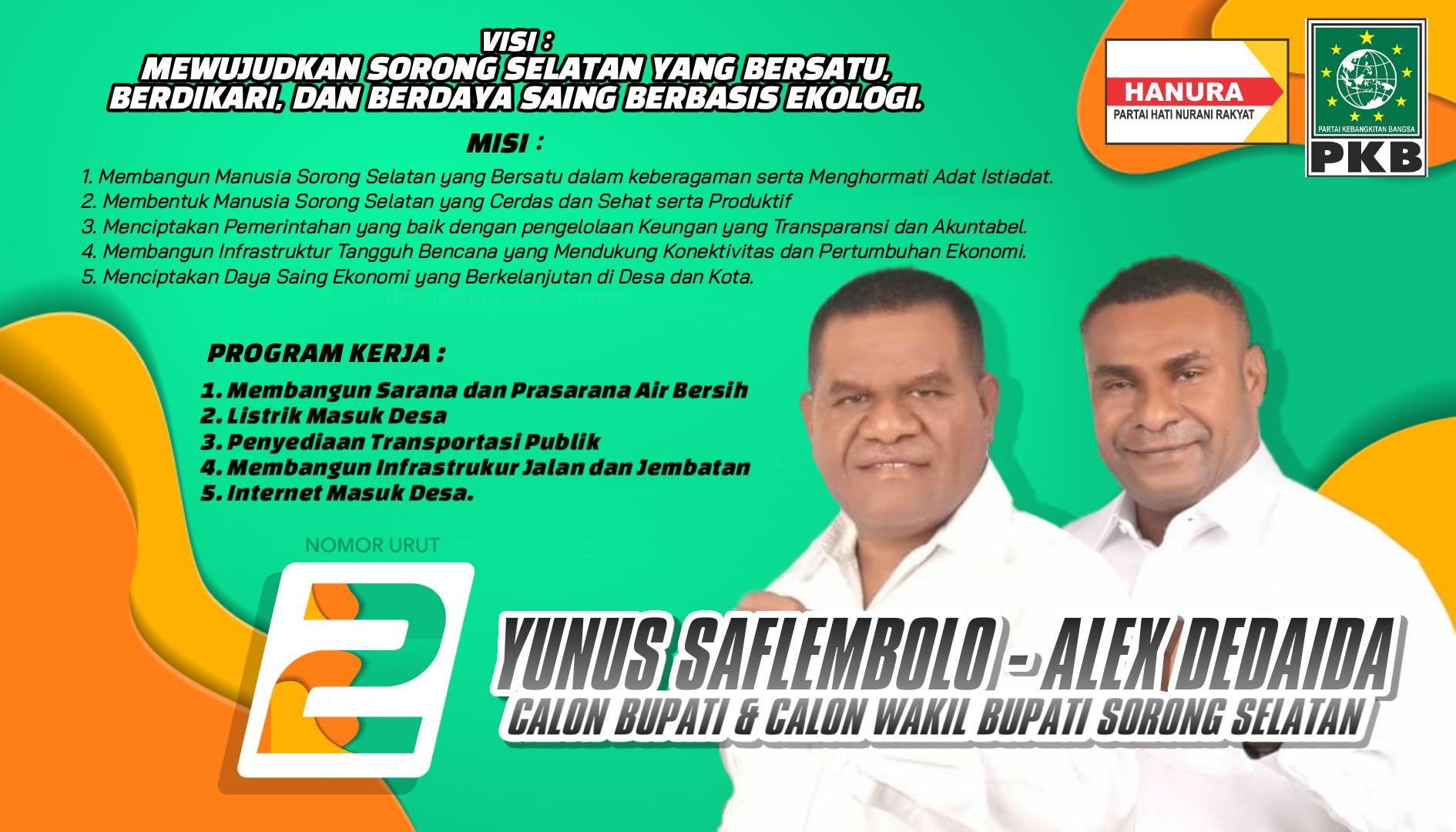 Diusung 2 Partai Yunus Alex Nomor Urut 2 Di Pilkada Kab Sorong Selatan