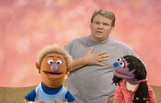 Andy Richter joins the Fuzzy and Blue And Healthy Too show, telling the audience some heartbeat facts. Sesame Street Happy Healthy Monsters
