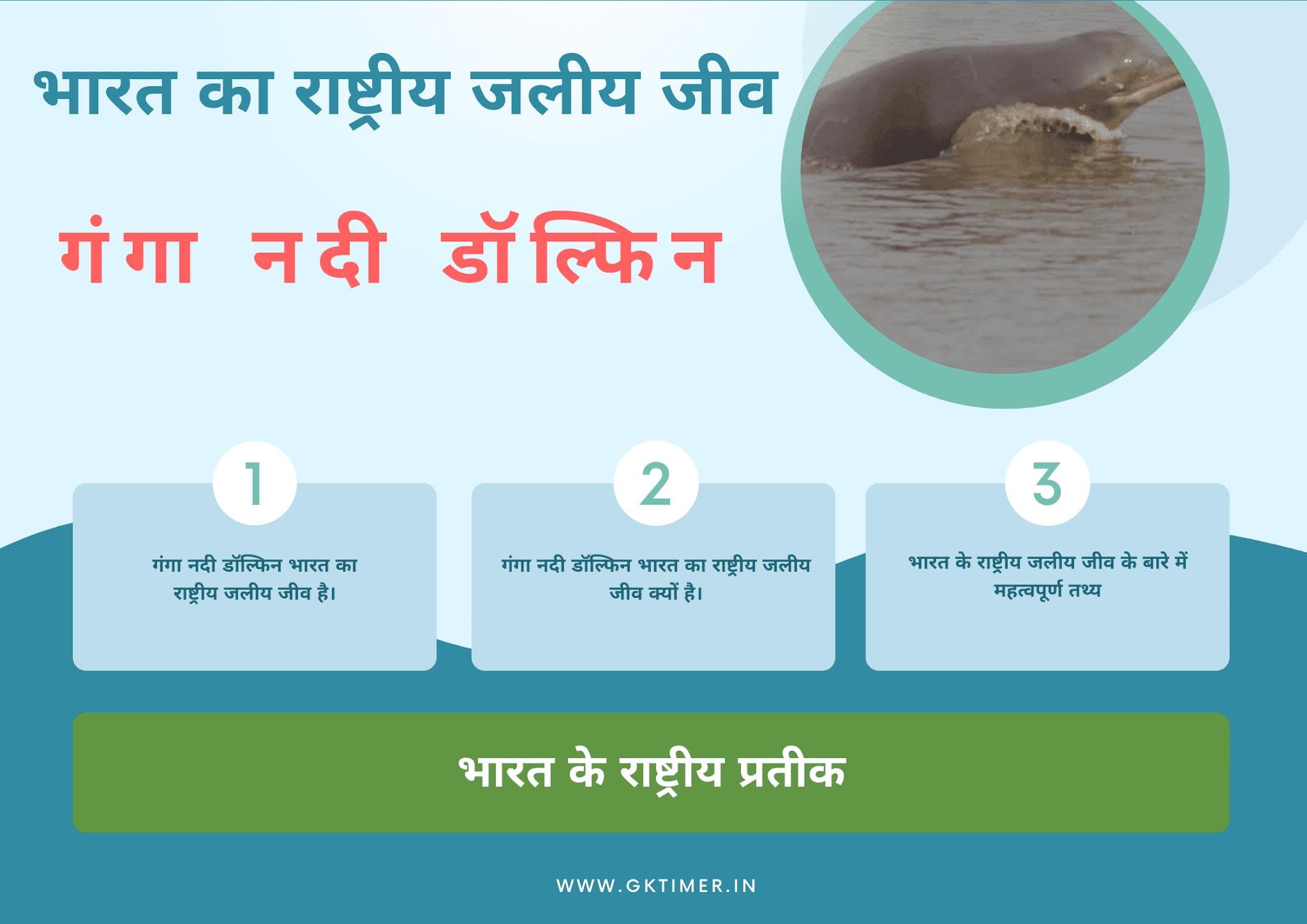 राष्ट्रीय जलीय जीव : गंगा नदी डॉल्फिन |National Aquatic Animal of India in Hindi : Ganges River Dolphin
