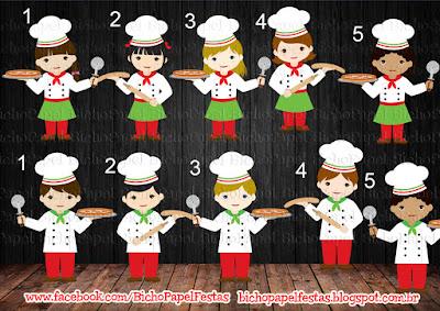 Kit festa pizzaria personagens menino menina