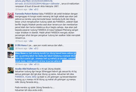 Komen Terbaik Facebooker Dalam FB Fareeda Nyata Jelita