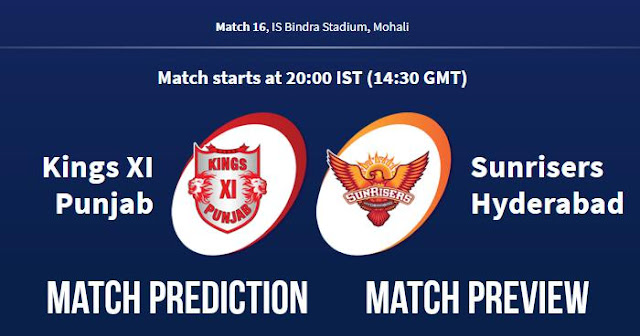 IPL 2018 Match 16 KXIP vs SRH Match Prediction, Preview and Head to Head: Who Will Win?