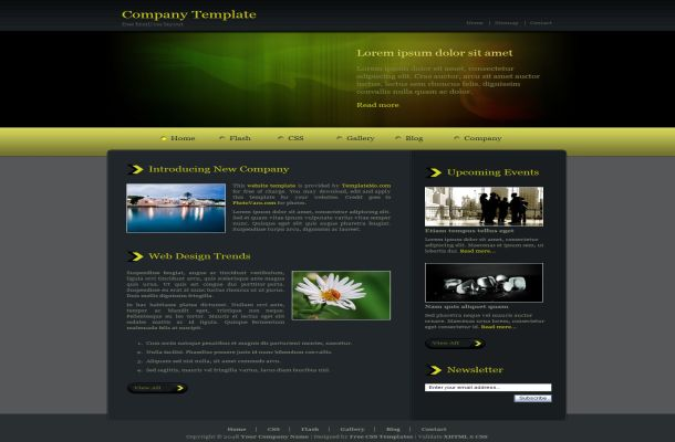 Dark Green Jquery CSS HTML Website Template