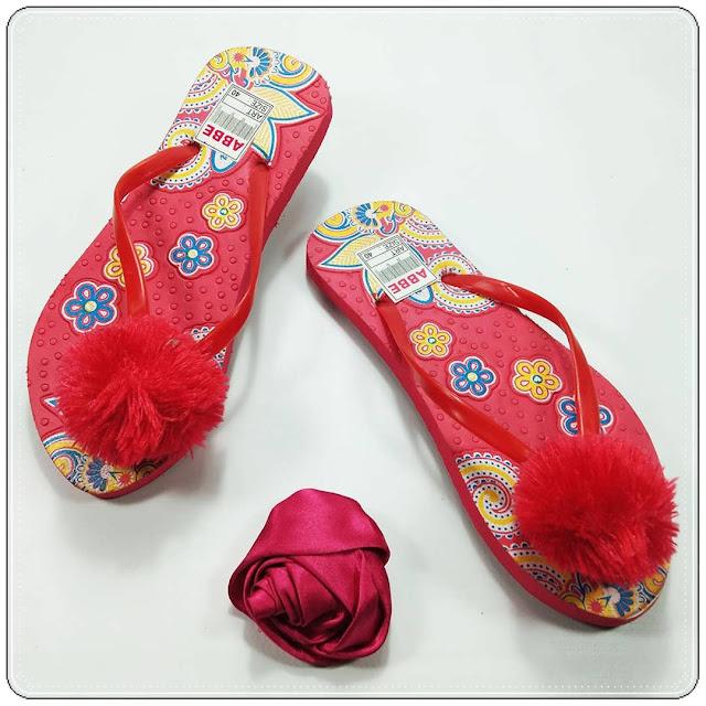 Sandal AB Sablon Bunga Pompom    Terlaris dan Termurah