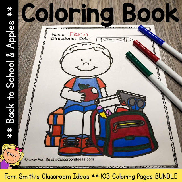 You will LOVE the 103 coloring pages that come in this coloring pages bundle, Back to School Coloring Pages and Fall Apple Coloring Pages! Terrific for a First Day Activity on The Students' Desk When They Arrive In Your Classroom! You will love how easy it is just to print and pass out the pages you want OR have a parent volunteer bind them into a BACK TO SCHOOL COLORING BOOK for you to have on the students's desk during the busy, crazy first week of back to school time!