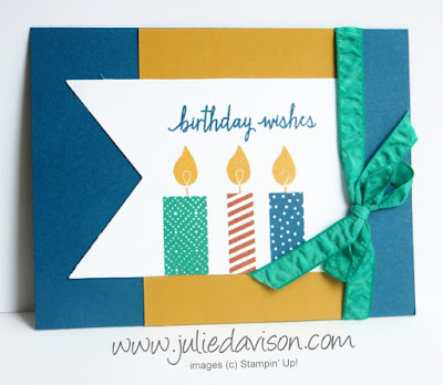 Stampin' Up! Build a Birthday masculine birthday card with In Colors Dapper Denim, Emerald Envy + Delightful Dijon and Cajun Craze. Great color combination for masculine cards www.juliedavison.com #stampinup