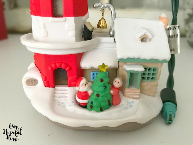 red white lighthouse ornament Santa Mrs. Claus Christmas tree