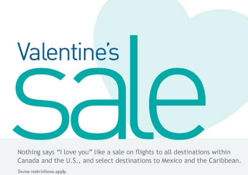 Westjet Valentine's Seat Sale