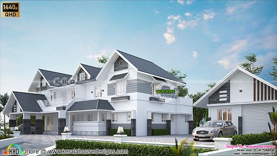 Side view elevation of the above road level sloping roof house