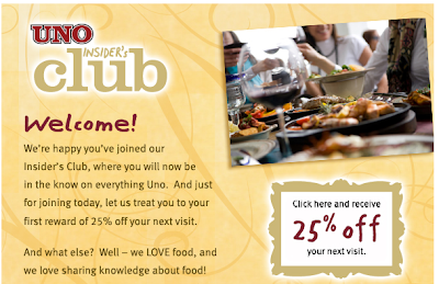 image regarding Unos Coupons Printable called Uno Chicago Grill - 25% Off Your Look at Printable Coupon