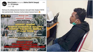Ajak Demo Turunkan Jokowi, Kader HMI Ambon Diciduk Polisi, Terancam Penjara 6 Tahun