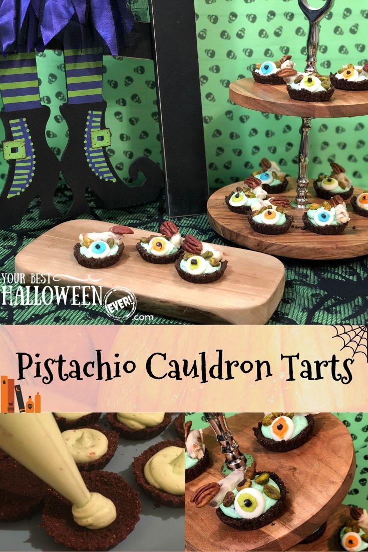 pistachio cauldron tart recipe, easy halloween dessert recipe