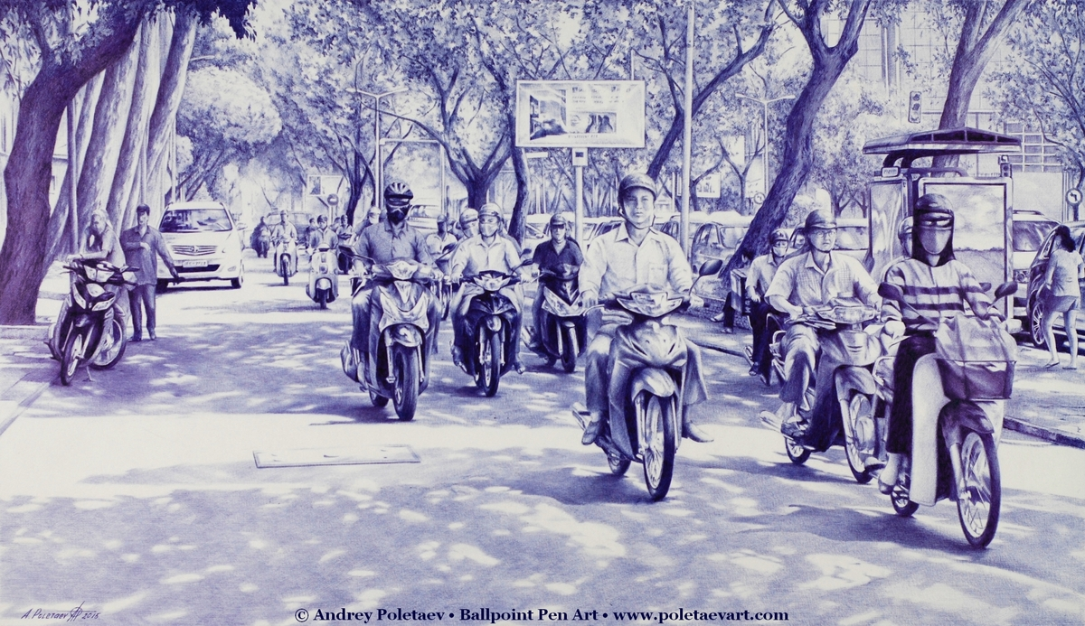 12-Commute-in-Ho-Chi-Minh-Andrey-Poletaev-Detailed-Urban-Drawings-achieved-with-a-Ballpoint-Pen-www-designstack-co