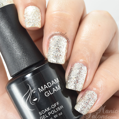 Madam Glam Gel Polish Silver Glitters Swatch