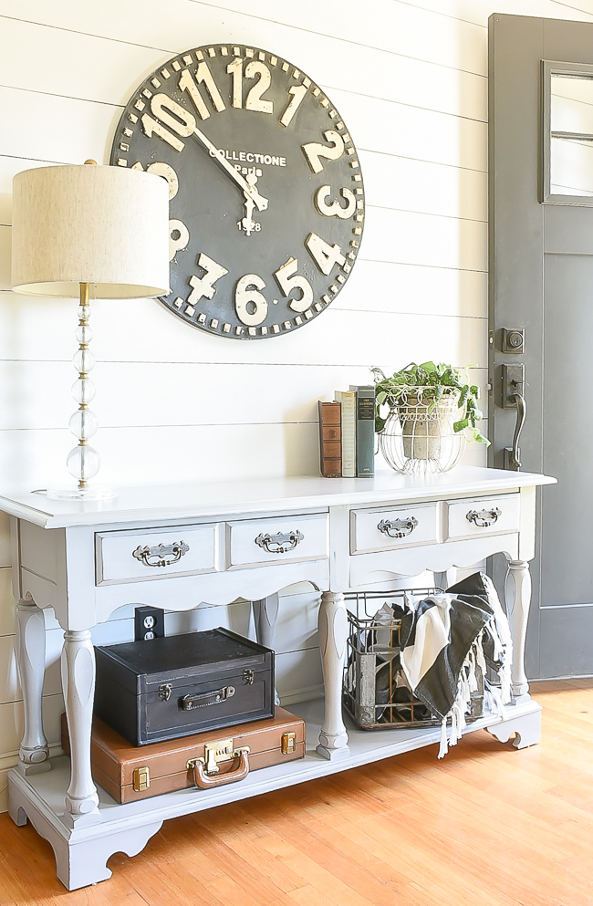 Light gray 80's console table makeover