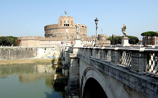 The Ponte Sant'Angelo, which connects Castel Sant'Angelo with the centre of Rome across the Tiber river