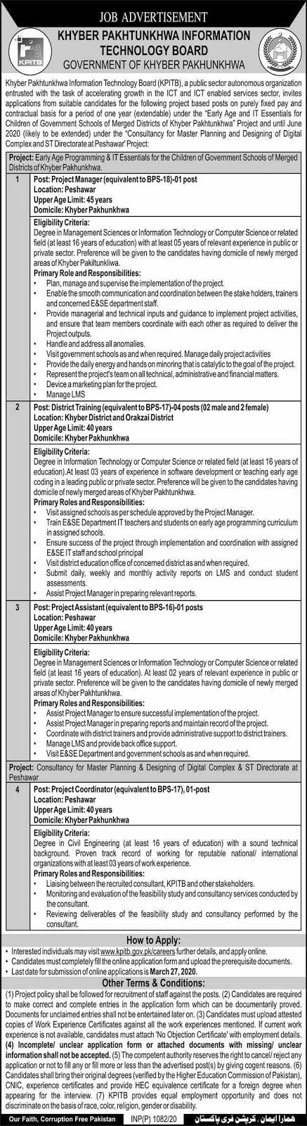Latest Jobs in Khyber Pakhtunkhwa Information Technology Board 12-03-2020