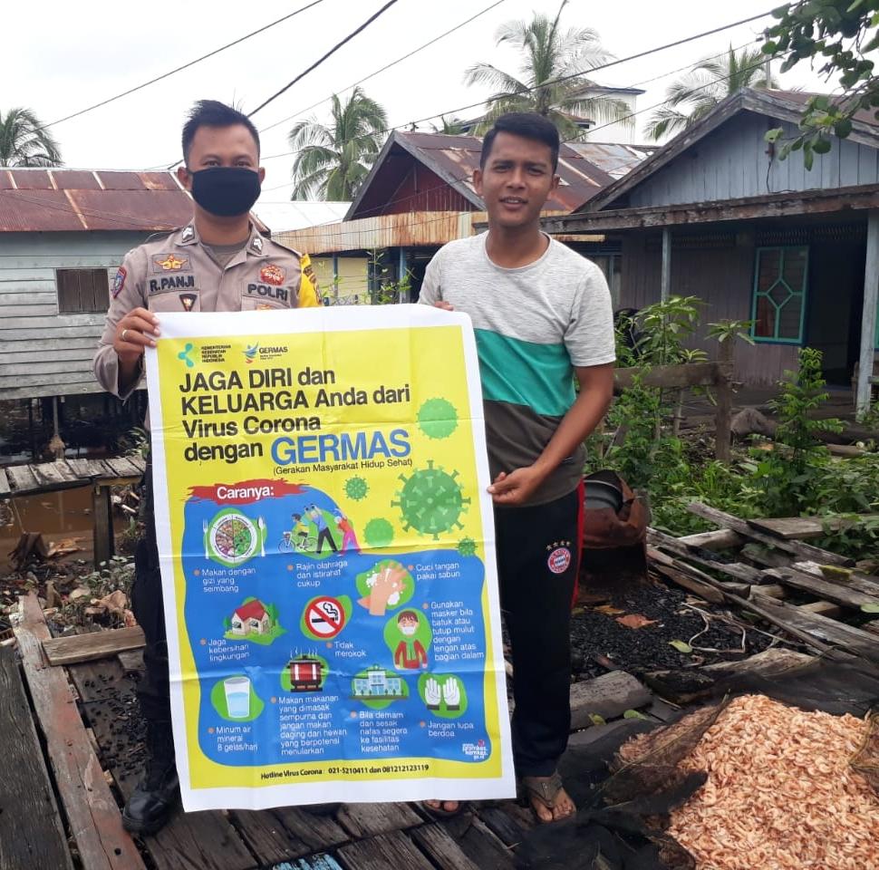 Bhabinkamtibmas Polsek Katingan Kuala Imbau Warga Terapkan Protokol Kesehatan
