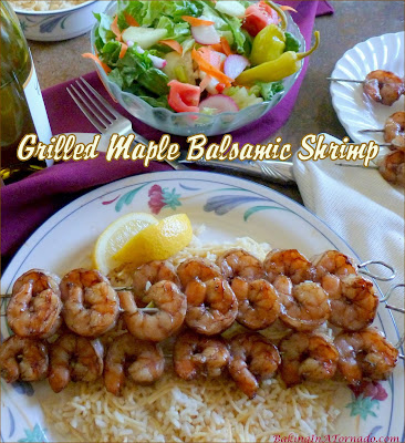 Grilled Maple Balsamic Shrimp is a quick and simple dinner, just marinate, skewer, and grill. | Recipe developed by www.BakingInATornado.com | #recipe #dinner
