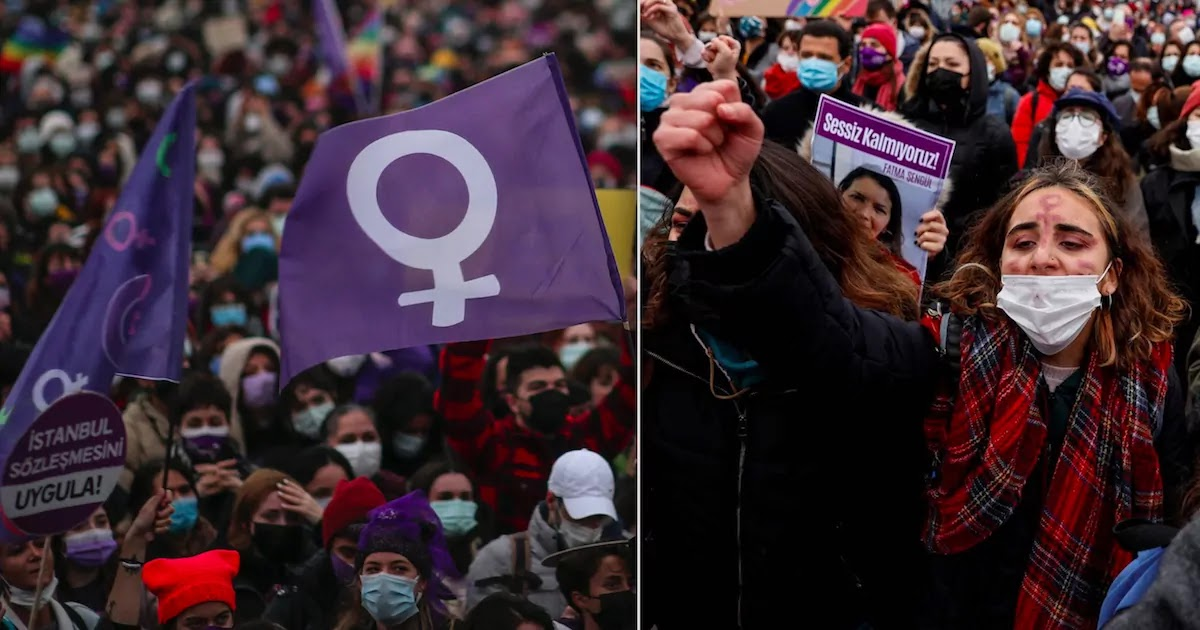 Protests In Turkey After Government Decision To Withdraw From Treaty That Protects Women From Domestic Violence