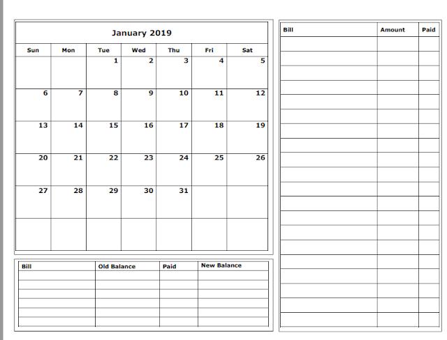 graphic regarding Budget Calendar Printable called Grace Christian Homeschool: No cost 2019 Spending budget Calendars