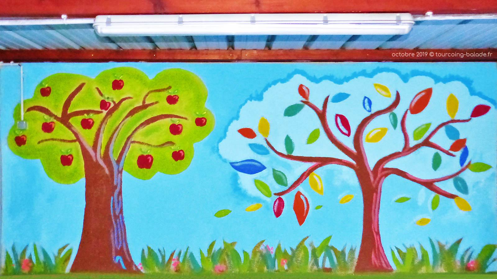 École primaire CNDI, Tourcoing - Fresque cour de récréation.