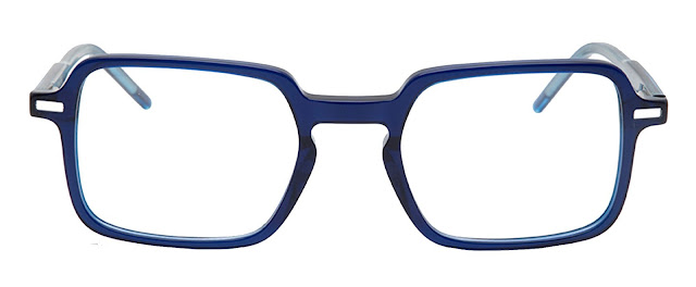 Blue Square Shaped Acetate Frame - Blue X with Power